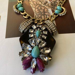 🔥JCrew CrystalRhinestone Blue Tortoise Necklace